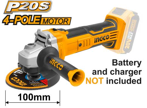 Ingco 20v CAGLI1001 Cordless Angle Grinder 100mm Skin