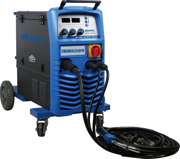EMAX EMXMIG250PD PULSE MIG/TIG/MMA Welder with Trolley