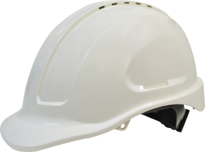 Maxisafe HVS590-W White hard hat, long peak, vented, Sliplock harness