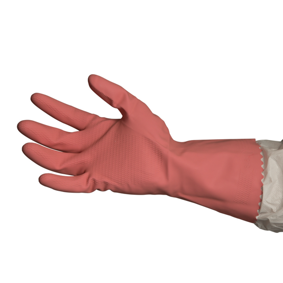 Bastion BNG2734 Silverlined Rubber Gloves - Pink Large
