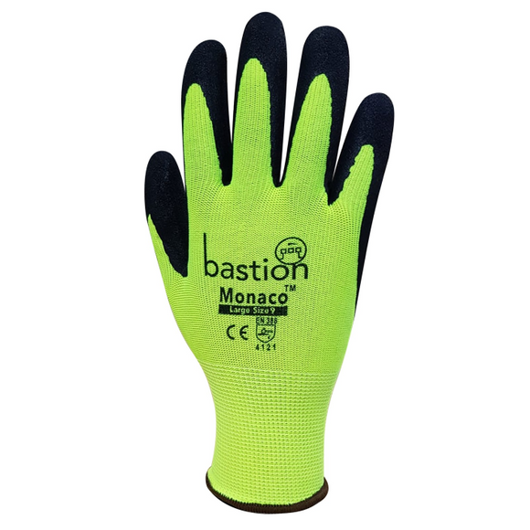Bastion BSG35125 Monaco - Hi Viz Yellow Polyester Gloves Black Sandy Foam Nitrile Coating (XL)