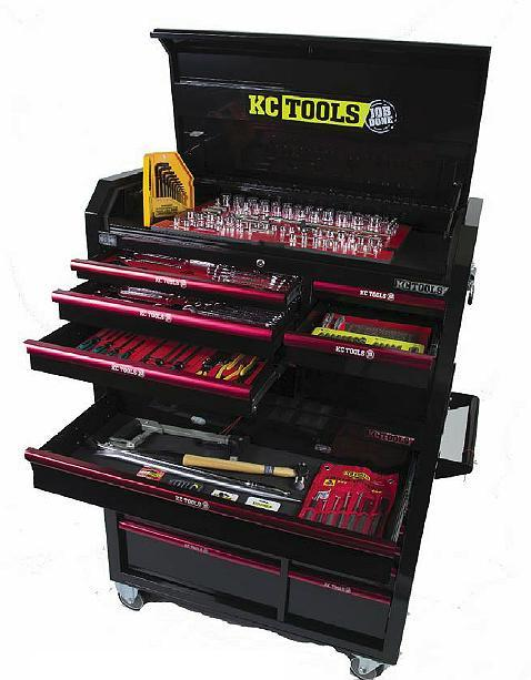 KC Tools ATK322 322Pce Mega Metric & AF Tool Kit in 7 Drawer Tool Box & 11 Drawer Roll Cabinet