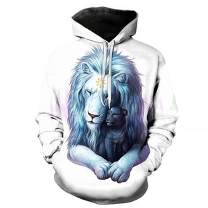 Snow Lion White 3D Hoodie