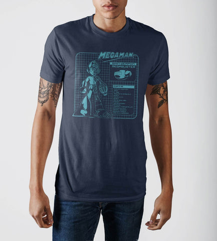 Capcom MegaMan Stylish Digital Graphic Print Navy Blue T-shirtCapcom - MERCHMILLA, Official nerd Merch lives here