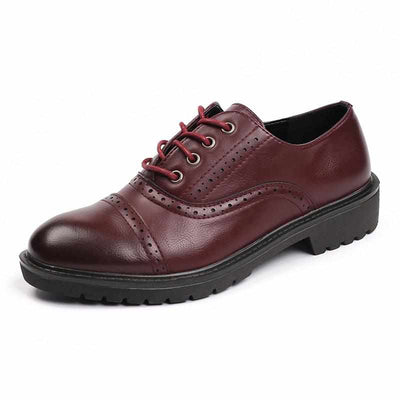 Red Vintage Flat Oxford Shoes British Style-Women Shoes-Golonzo
