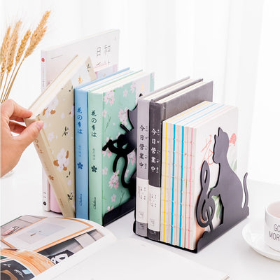 Cute Cat Bookend Non skid Iron Decorative Home Office Desktop-bookcase-Golonzo