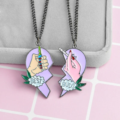 Best Friends Love Couple Necklace For Women Cut Animal Rabbit Rainbow-Necklace-Golonzo