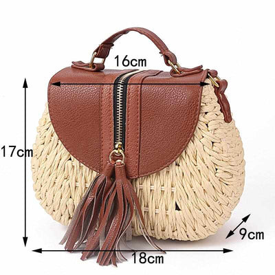 Ladies Woven Knitting Messenger Straw Bags-Handbags-Golonzo