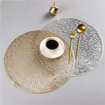 Gold Silvery Round Placemats Kitchen PVC Mats for Dining Tables Drink Coasters Set Coffee Cup-Kitchen Slicers-Golonzo
