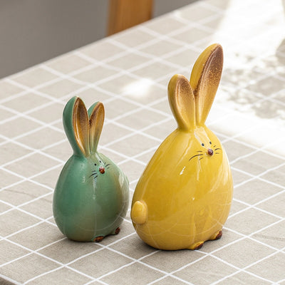 Nordic Style Cute Long Ear Rabbit Ceramic Decoration Cartoon Animals Figurines-statue-Golonzo