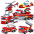 348pcs Fire Fighting Lego Set - 4in1 Trucks Car Helicopter Boat Building Blocks