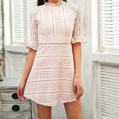 Elegant Half sleeve hollow out lace dress-Dresses-Golonzo