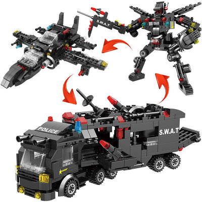 SWAT Team Lego Set Transformer Truck-Toys-Golonzo