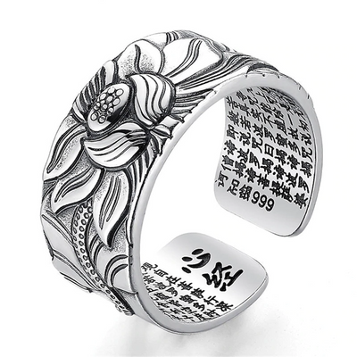 Buddhistic Lotus Ring with Heart Sutra-ring-Golonzo