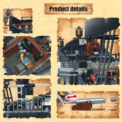 875 Pcs Pirates of the Caribbean Building Blocks - The Black Pearl Ship (Free 6 figures)-Toys-Golonzo