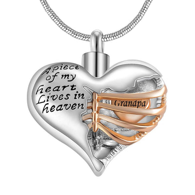 A piece of my heart lives in heaven Two Tone Locket Heart-Necklace-Golonzo