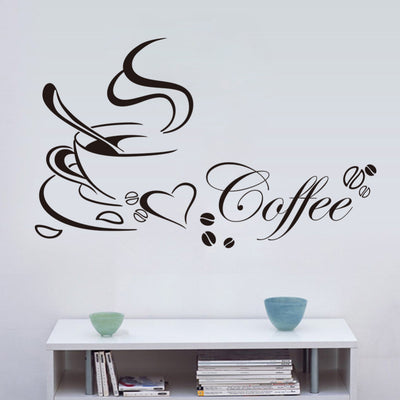 Coffee cup with heart vinyl wall Stickers-wall sticker-Golonzo
