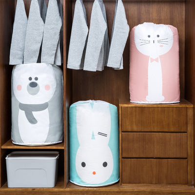 Collapsible Storage Bag Clothes Cotton Blanket Bed Cover Wardrobe Sweater Storage Bag Cute Bear-Storage Holders & Racks-Golonzo