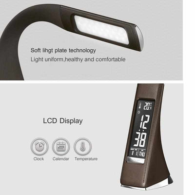LED Business Desk Lamp - Leather Texture Folding Reading Table Lamp With Alarm Clock/Calendar LCD Display-Desk Lamps-Golonzo