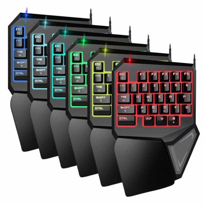 T9Pro Single Handed Gaming Keyboard - 7 Color Backlit 30 Buttons Ergonomic Keypad-Keyboards-Golonzo