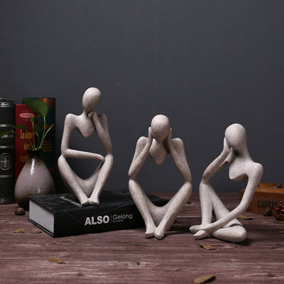 Statues Creative Abstract Thinker People Sculptures Miniature Figurines Craft Office Home Decoration-statue-Golonzo