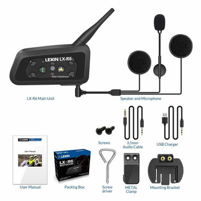 LX R6 Motorcycle Bluetooth Helmet Headsets Intercom for 6 riders-Motorcycle Helmet Parts & Accessories-Golonzo
