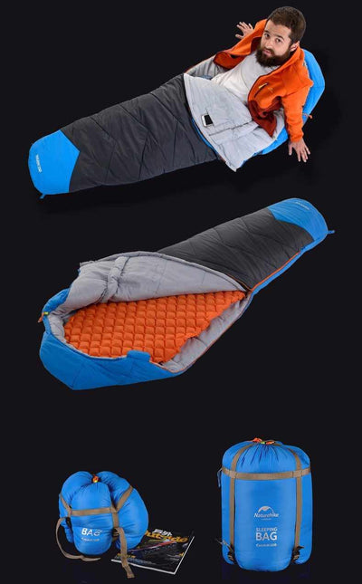 Winter Thickening Mummy Sleeping Bag - Outdoor Camping Warm Sleeping Bag with Compression Sack-Sleeping Bags-Golonzo