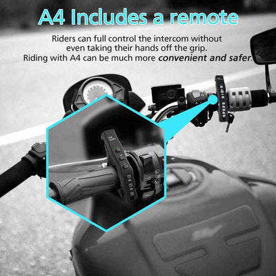 1pcs A4BT Bluetooth Motorcycle Helmet Intercom Headset with Remote Controller for 4 Riders-Motorcycle Helmet Parts & Accessories-Golonzo