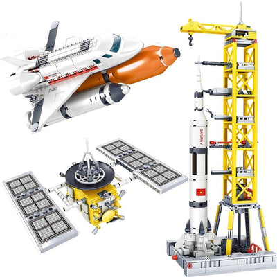 Space station Saturn V Rocket Building Blocks City Shuttle satellite Astronaut-Toys-Golonzo