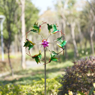 Iron Art Craft Outdoor 3D Wind Spinner Reflective Painting and Rustless Windmill-Garden-Golonzo