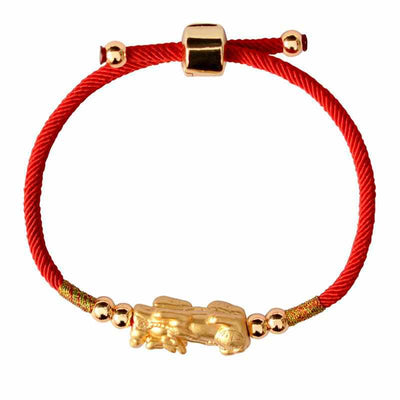 Lucky Red Rope 999 Sterling Silver Gold Color Pixiu Charm Bracelet-Bracelet-Golonzo