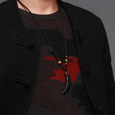 Natural Stone Black And Ice Obsidian Wolf Tooth Amulets Pendant Necklace-Necklace-Golonzo
