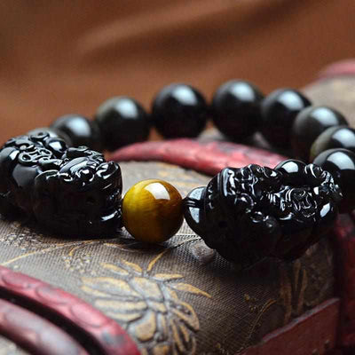 Natural Stone Black Obsidian Bracelet With Tiger Eye And Double Pixiu Lucky Brave Charms-Bracelet-Golonzo