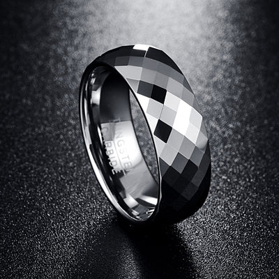 Multi-faceted High Polished Domed Tungsten Carbide Wedding Band Rings-ring-Golonzo