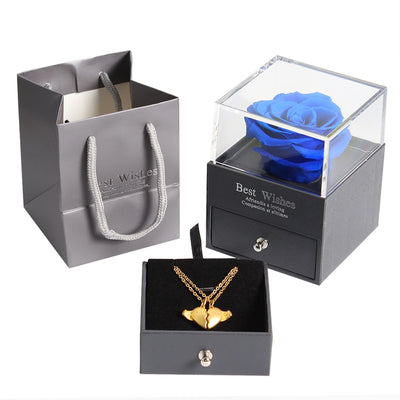 Preserved Rose Beauty and The Beast Eternal Flower Jewelry Box-Necklace-Golonzo