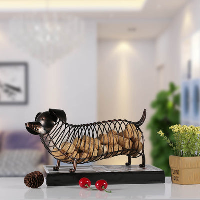 Tooarts Metal Animal Figurines Dachshund Wine Cork Container Modern Artificial Iron Craft-statue-Golonzo