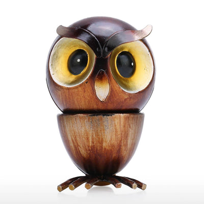 Tooarts Owl dog Fun Ornament Iron Art Decor Handmade Craft Gift for Owl and Animal Lovers-statue-Golonzo