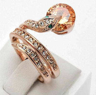 Snake Ring Rose Gold Color Austrian Crystals-ring-Golonzo