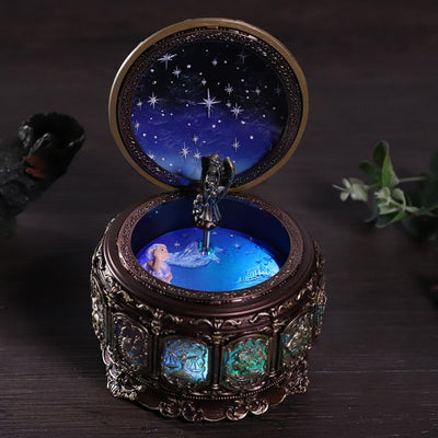Vintage Music Box with 12 Constellations Rotating Goddess-Music Boxes-Golonzo