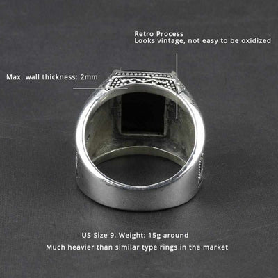 Vintage Pure 925 Sterling Silver Black Obsidian Natural Stone Rings-ring-Golonzo