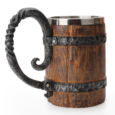Wooden barrel Stainless Steel Resin 3D Beer-Coffee and Tea Cups-Golonzo