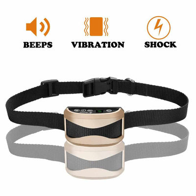 Anti Bark Dog Training Collar - Vibration / Electric Shock / Sound For Dogs IP7 waterproof-Pet Training Clicker and Treat Dispenser-Golonzo