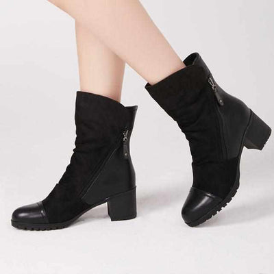 Women High Heel Ankle Winter Boots Suede Leather-Women Shoes-Golonzo
