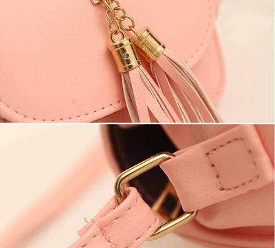 Women Messenger Shoulder Handbag With Tassel-Handbags-Golonzo