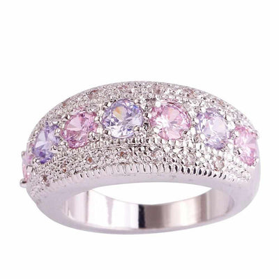 Pink CZ Tourmaline Silver Color Ring-ring-Golonzo