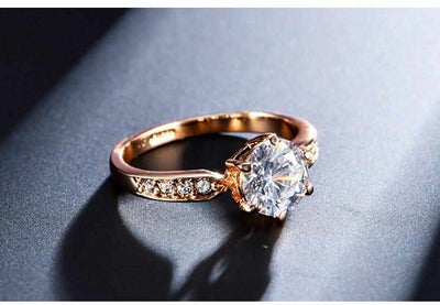 Rose gold color engagement Zircon Rings-ring-Golonzo
