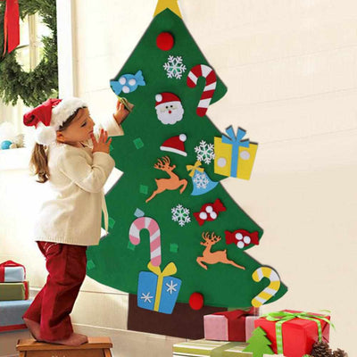 Kids DIY Christmas Felt Tree with Ornaments-Holiday Ornament display and Stand-Golonzo
