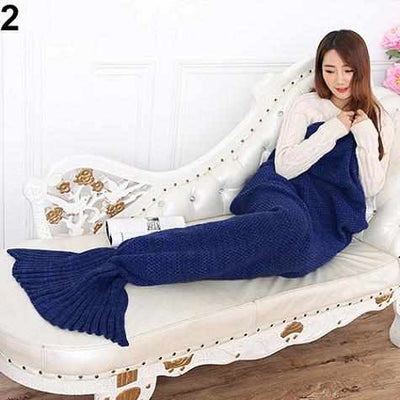 Handmade Knitting Mermaid Tail Blanket-Blankets-Golonzo