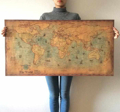 Antique Painting World Map Wall Sticker-wall sticker-Golonzo