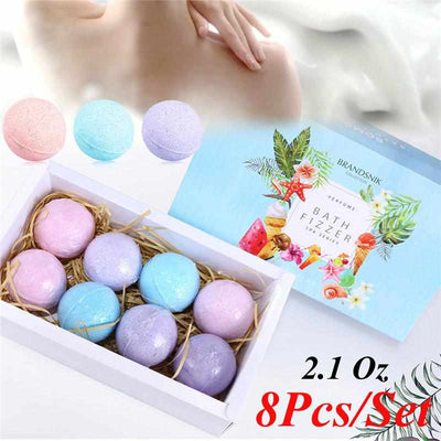 8Pcs/set Bath Salts Ball - Bath Bombs Set Stress Relief - Bath Fizzer Body Scrub-Bath & Body-Golonzo